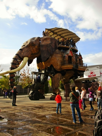 """The """"Big Elephant of Nantes"""" walks, blinks, and can even roar and spray water out its trunk."""