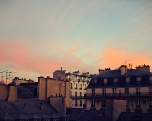 The view from out our hostel window in Paris.