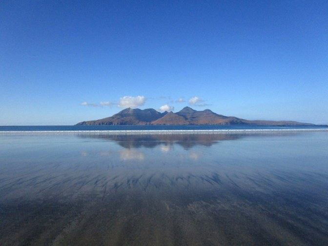 The Isle of Rum, as seen from Laigg Beach on the Isle of Eigg.