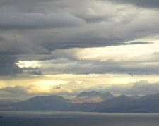 We climbed up to the cliffs behind our bothy to see what we could see. There was a beautiful view back to the mainland.