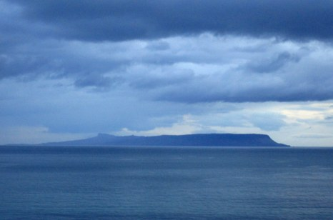 Our last view of the Isle of Eigg, from the train. The left side is An Sgurr, and the right side is An Cruachan, where we climbed up.