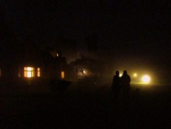 Walking from the stables to the main house one foggy night.